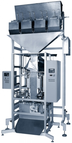 Packaging machine for freely falling liquid products to 1.5 l