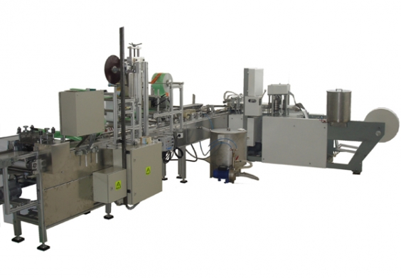 Automatic line for packing of cosmetic cleaning napkins / wet wipes in single package with 10 - 20 pcs.